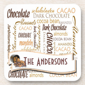 Chocolate, Almonds and Dark Chocolate Word Cloud Drink Coasters