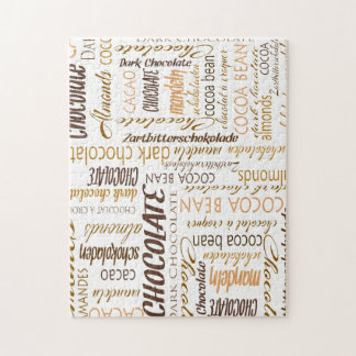 Chocolate, Almonds and Dark Chocolate Word Cloud Jigsaw Puzzle