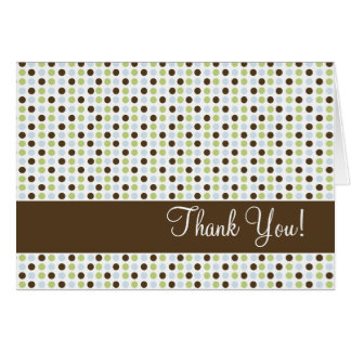 Chocolate and Blue Polka Dot Thank You Card