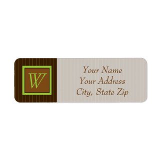 Chocolate and Lime Pinstripes Return Address Label