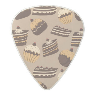 Chocolate and pastries pattern 3 acetal guitar pick