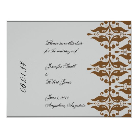 Chocolate and Silver Damask Save the Date Card