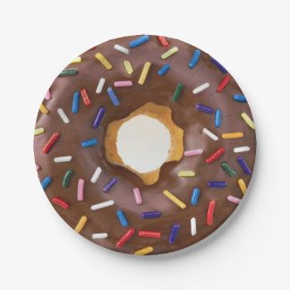 Chocolate and Sprinkle Donut Celebration Paper Plate