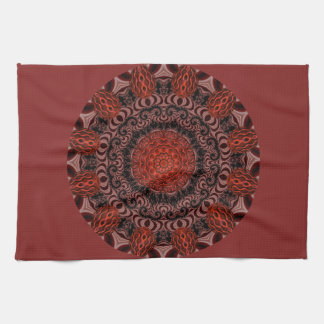 Chocolate and Strawberries Mandala, Abstract Tea Towel