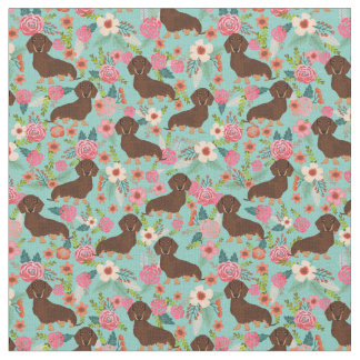 Chocolate and Tan Doxie Fabric - mint