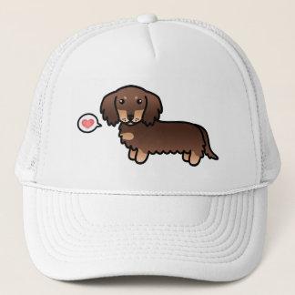 Chocolate And Tan Long Coat Dachshund Cartoon Dog Trucker Hat