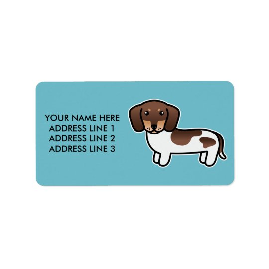 Chocolate And Tan Piebald Smooth Coat Dachshund Address Label