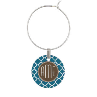 Chocolate and Teal Quatrefoil Pattern Monogram Wine Charm