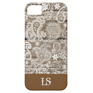 Chocolate and White Paisley Barely There iPhone 5 Case
