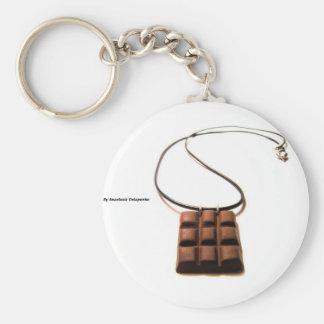 Chocolate Bar Basic Round Button Key Ring