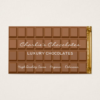 Chocolate bar luxury chocolates shop business card