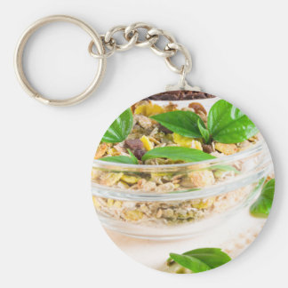Chocolate bar with muesli and flakes key ring