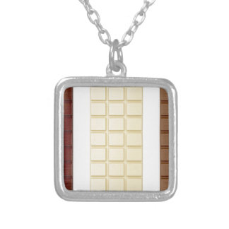 Chocolate bars silver plated necklace