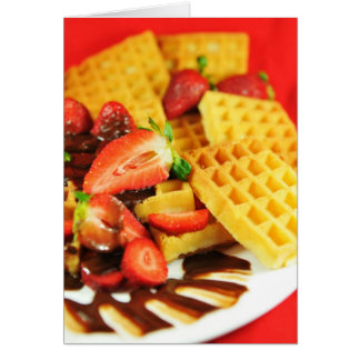 Chocolate Belgian waffle and strawberries Card