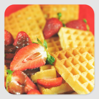 Chocolate Belgian waffle and strawberries Square Sticker