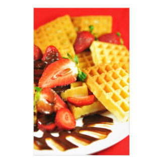 Chocolate Belgian waffle and strawberries Stationery