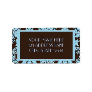 Chocolate Blue Damask Address Label