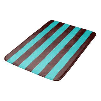Chocolate Brown and Aqua Stripes Bath Mat