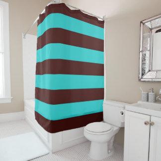 Chocolate Brown and Aqua Stripes Shower Curtain