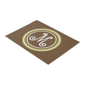Chocolate Brown and Olive Green Monogram Doormat