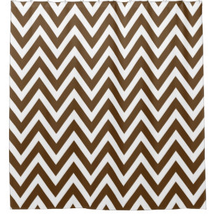 Chocolate Brown And White Chevron Shower Curtain