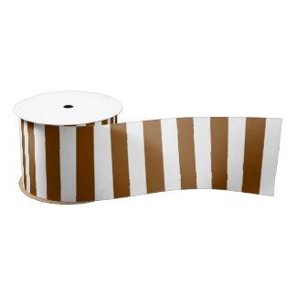 Chocolate Brown and White Stripes Satin Ribbon