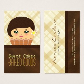 Chocolate Brown Cupcake Character Baker Bakery Business Card