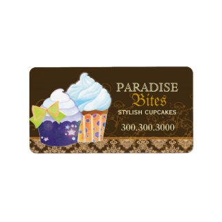 Chocolate Brown Damask Cupcakes: Business Address Label