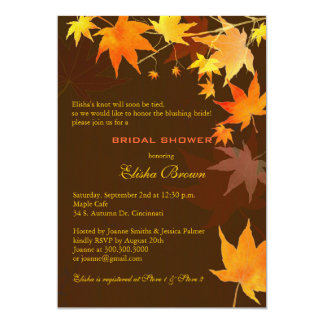 Chocolate Brown Fall Maple Bridal Shower Card