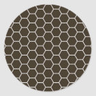 Chocolate Brown Geometric Hexagon Pattern Classic Round Sticker