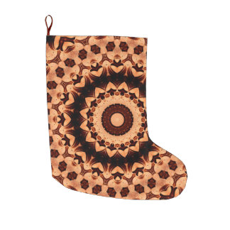 Chocolate Brown Hearts Holiday Large Christmas Stocking