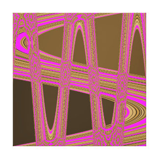 Chocolate Brown Hot Pink Modern Abstract Wave Gallery Wrapped Canvas