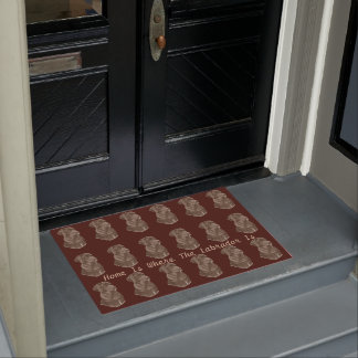 chocolate brown Labrador retreive dog portrait art Doormat