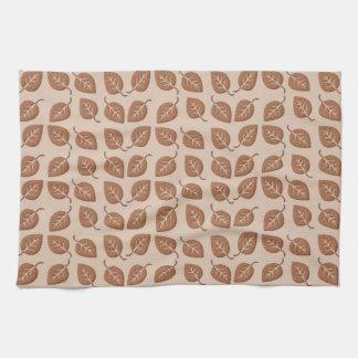 Chocolate Brown Leaves Pattern Towel