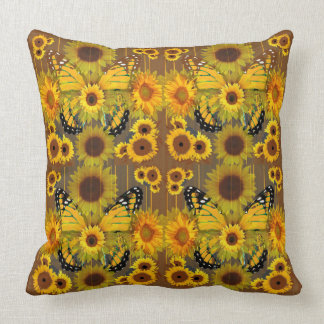 CHOCOLATE BROWN MONARCH BUTTERFLIES & SUNFLOWERS CUSHION