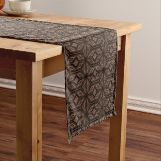 Chocolate Brown Mosaic Cotton Table Runner