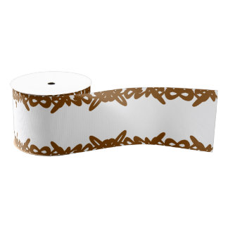 Chocolate Brown White Abstract Swirl Brush Design Grosgrain Ribbon