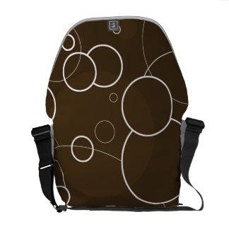 Chocolate Brown White Rings Messenger Bag