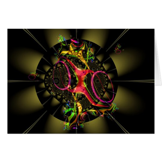 Chocolate Brown with Rainbow Fractal Art Design Card