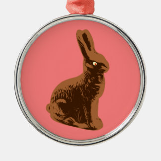 Chocolate Bunny Rabbit Silver-Colored Round Decoration