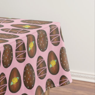 Chocolate Buttercream Happy Easter Egg Candy Pink Tablecloth