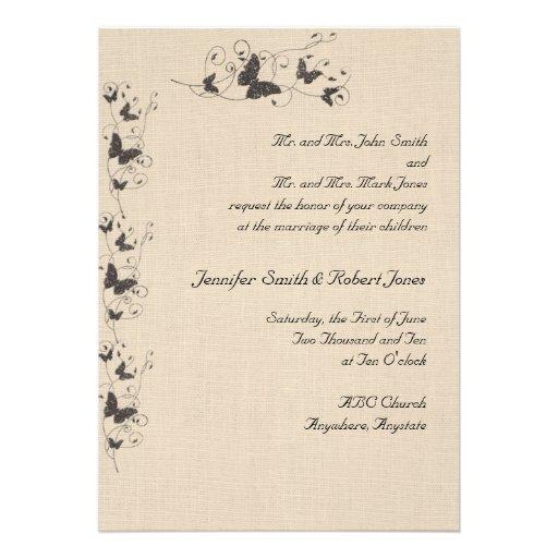 Chocolate Butterflies on Linen Invitation