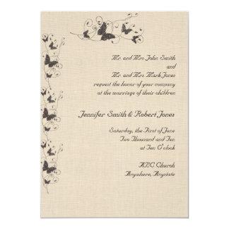 Chocolate Butterflies on Linen Wedding Invitation