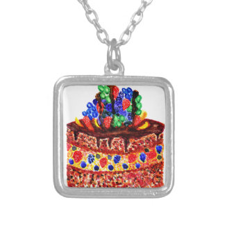 Chocolate Cake 2 Silver Plated Necklace