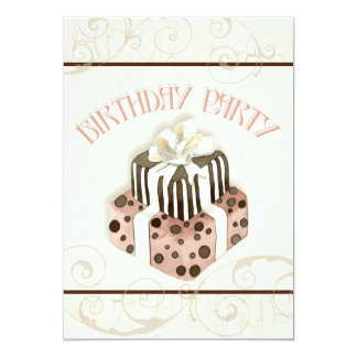 "Chocolate Cake Birthday Party Invitation 5"" X 7"" Invitation Card"