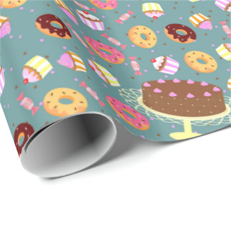 Chocolate cake, donuts, and candy party pattern wrapping paper