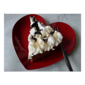 Chocolate Cake Heart Plate Poster