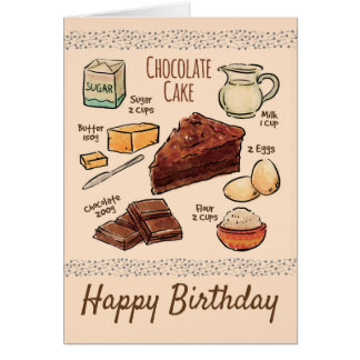 Chocolate Cake Recipe Birthday Card