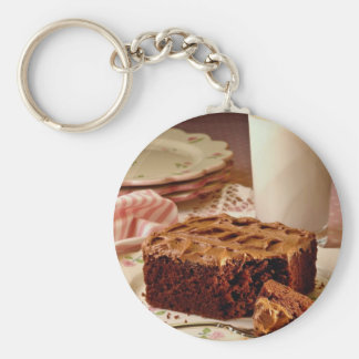 Chocolate cake square basic round button key ring