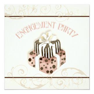 "Chocolate Cake Swirl Bridal Shower Invitation 5.25"" Square Invitation Card"